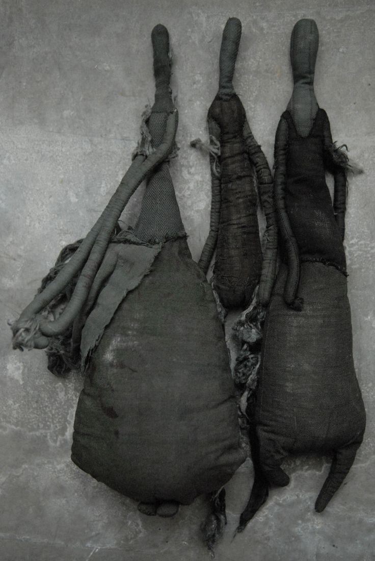 textile sculptures by Manon Gignoux ( at Antonine Catzéflis' gallery in Paris)