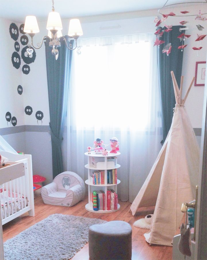 d coration chambre enfant kids totoro vintage nuage tipi visite noiraudes maison de poup e. Black Bedroom Furniture Sets. Home Design Ideas