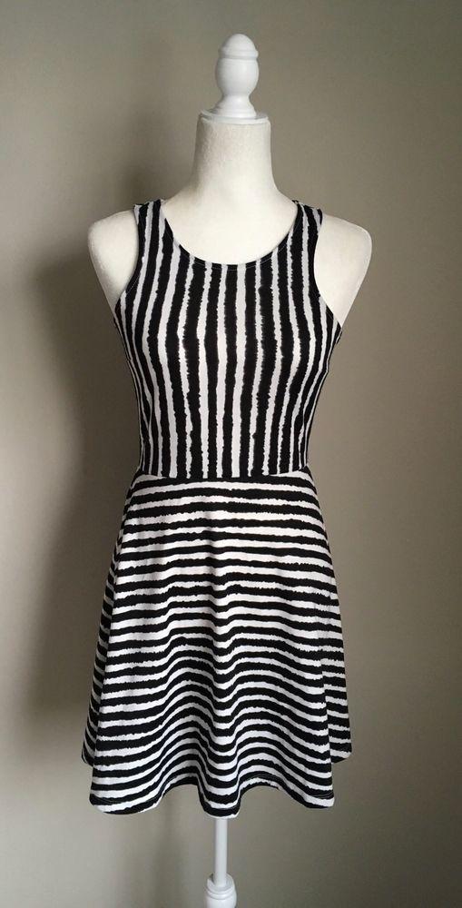 H&M Black White Striped Fit And Flare Stretch Dress Sz S  | eBay