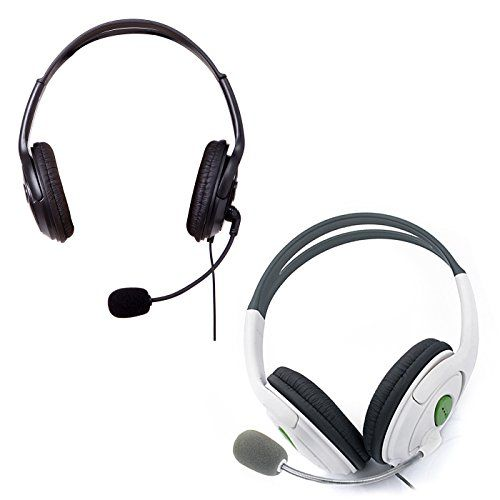 HDE XBOX 360 Headset Headphone Mic Game Chat Live Microphone Compatible with Wireless Controller (2-Pack BLACK & WHITE)