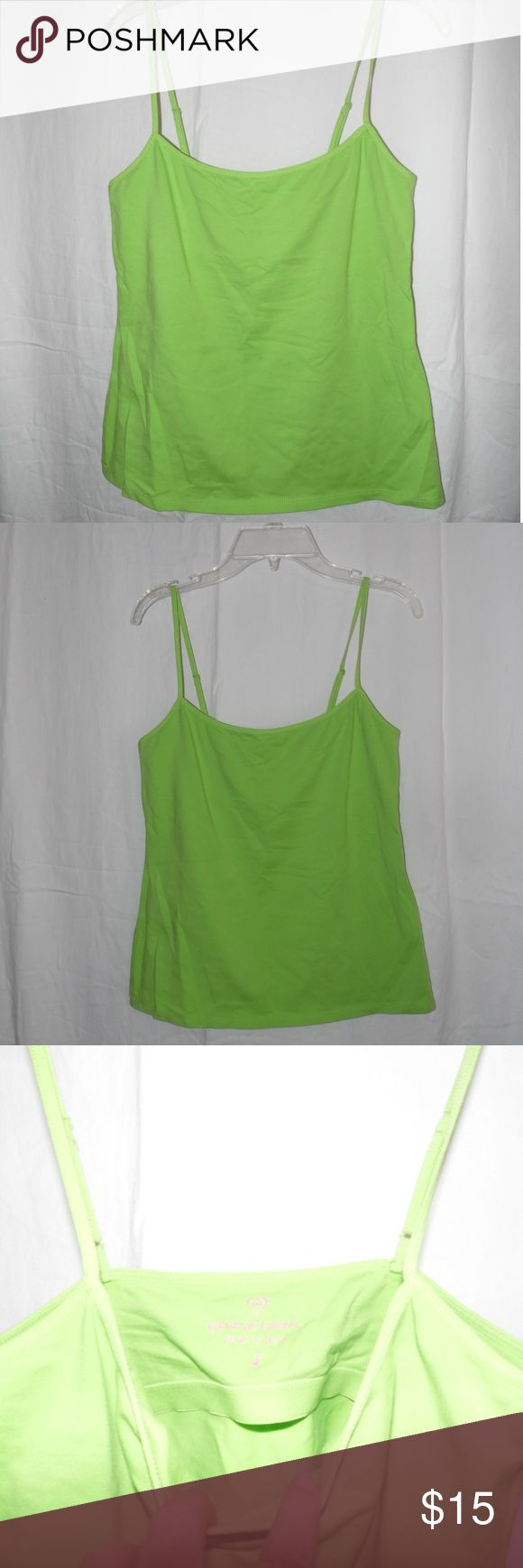 "Victoria's Secret Green Cami Small Great condition Victoria's Secret Green Cami Shirt Adjustable Strap with Built-in Bra Size Small arm pit to arm pit 14 1/2"" length from under arm to hem  14"" Victoria's Secret Tops Camisoles"