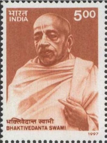 "Centenary Stamp (1997) with Prabhupada on cover ""A man is famous when he is known as a great devotee. That is real fame."" -Bhagavad gita As It Is 10.4.5 purport"