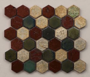 Hexagon mosaic hand painted in Red, Green, Antique Blue & Cream. Also available in a Turquoise & White variation. #mosaic #tile #green #red #blue #white #handpainted