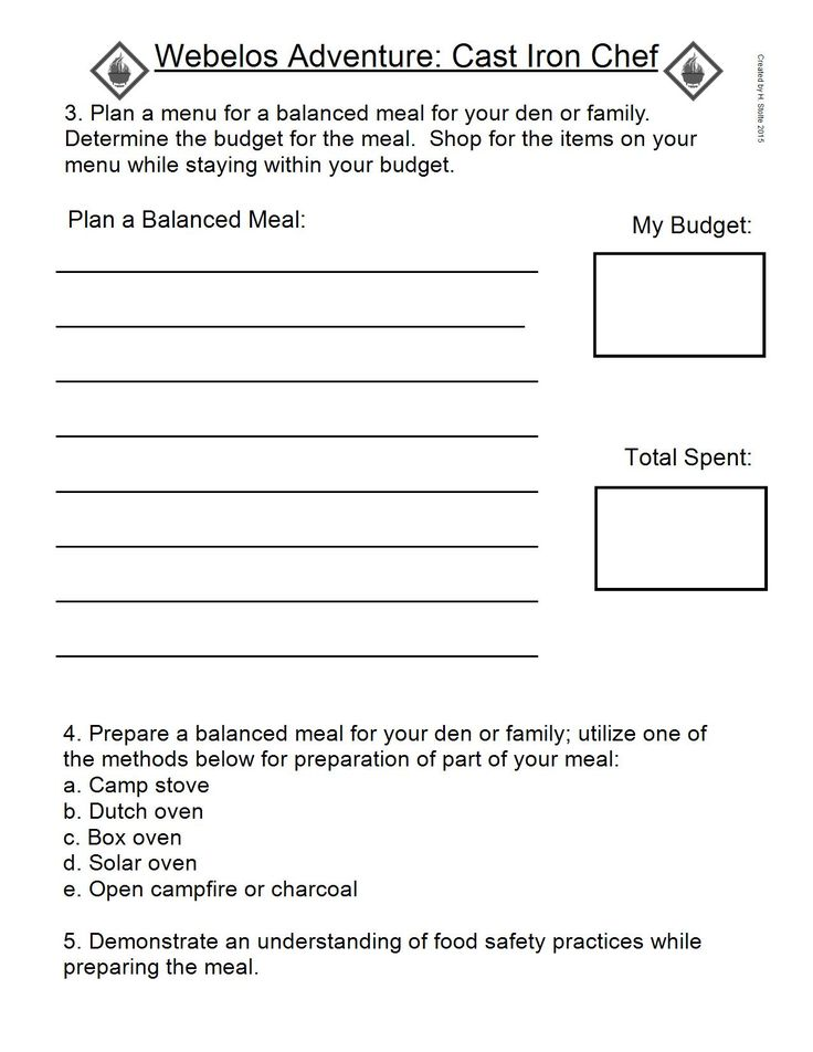 Webelos Adventure Work Sheet.  CAST IRON CHEF #3,4,& 5. IMAGE ONLY for printing.#1 can be completed at the time the meal is cooked as well.