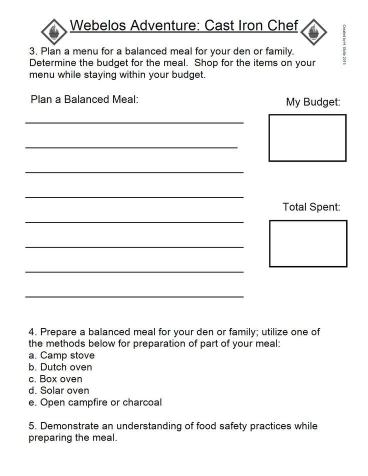 Girl Scout Meeting Planner Worksheet