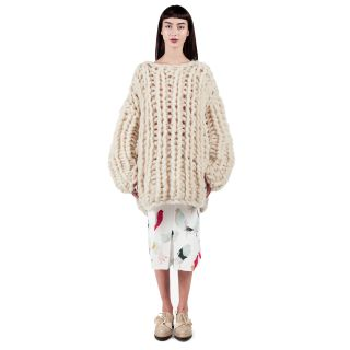 Chunky Giant White Pullover • Ioana Ciolacu