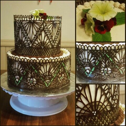 My first try at a two tiered cake, and with chocolate lace wraps!