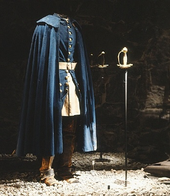 Courtesy of The Royal Armoury (http://emuseumplus.lsh.se/eMuseumPlus). Charles XII's (Karl XII's) blue uniform worn by him on the day he was shot to death, the 30th of November 1718. This is the only garment worn by Charles XII that has been preserved. The edge of his cloak still bares traces of the mud from the trenches.