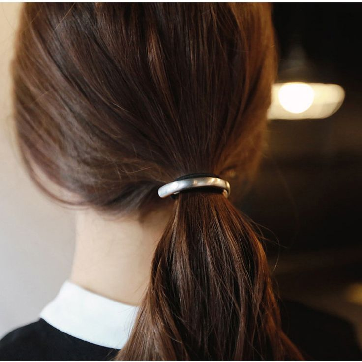 Fashion Personality Alloy Hemicycle Ring Hair Band Cuff Wrap Ponytail Holder Elastic Hair Metal Ornaments Rope Bijoux Cheveux