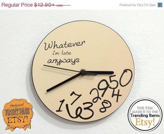 Free Calendars and -10% Whatever, I'm late anyways Beige - Wall Clock