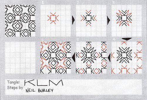Zentangle Letter Patterns   KLM – tangle pattern , a photo by perfectly4med on Flickr.