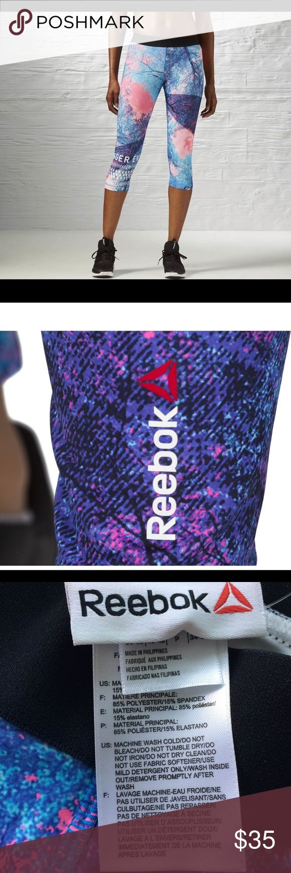 Reebok CAPRI (AY4483) Size : S 85% Polyester / 15% Elastane fabric for stretch and mobility Slim Fit  Speedwick technology wicks sweat away from the body to help you stay cool and dry Flatlock stitching sits smoothly against the skin and prevents chafing Exposed elastic waistband for a comfort and fit Antimicrobial treatment to stop odor buildup Capri length with a tree-inspired graphic         *No Returns Reebok Pants