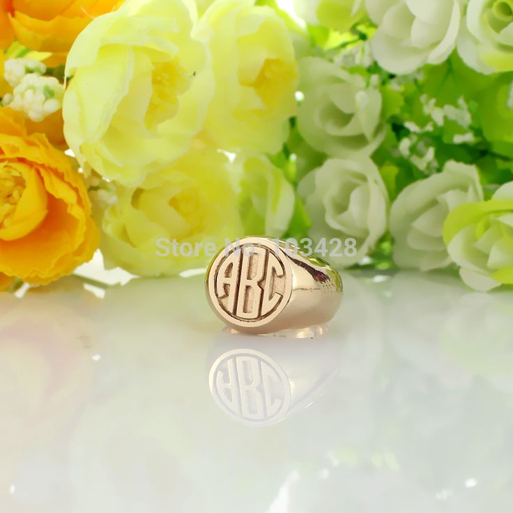Personalized Circle Block Monogram Rings Engraved 3 Rose Gold Color Initials Customized Monogrammed Ring 0.59