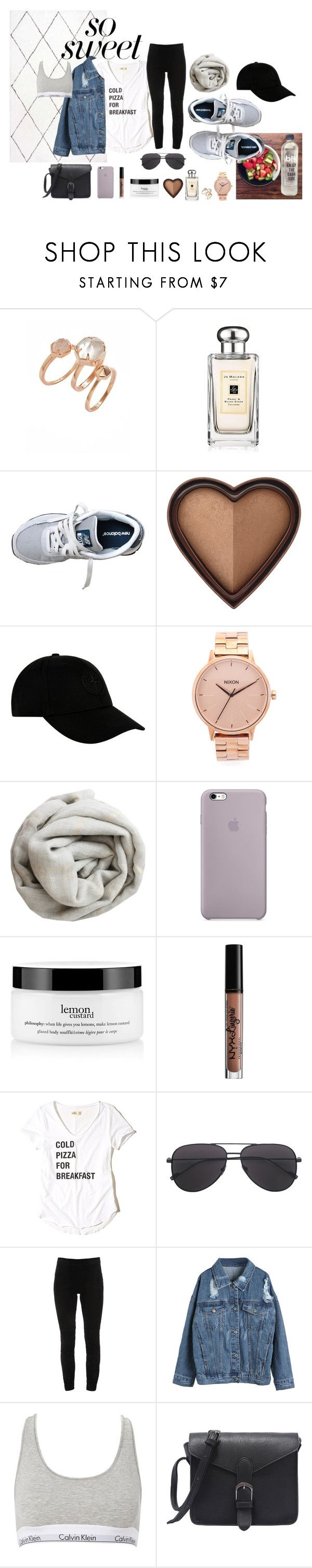 """Untitled #19"" by mjbanks on Polyvore featuring Kendra Scott, Jo Malone, New Balance, Too Faced Cosmetics, STONE ISLAND, Brunello Cucinelli, philosophy, Charlotte Russe, Hollister Co. and Elie Tahari"