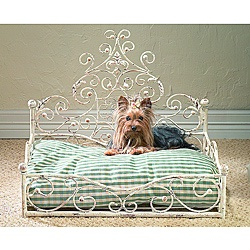 Old World Antique Scroll Pet Bed With Wood Ball Finials... Kingston def. deserves this bed.