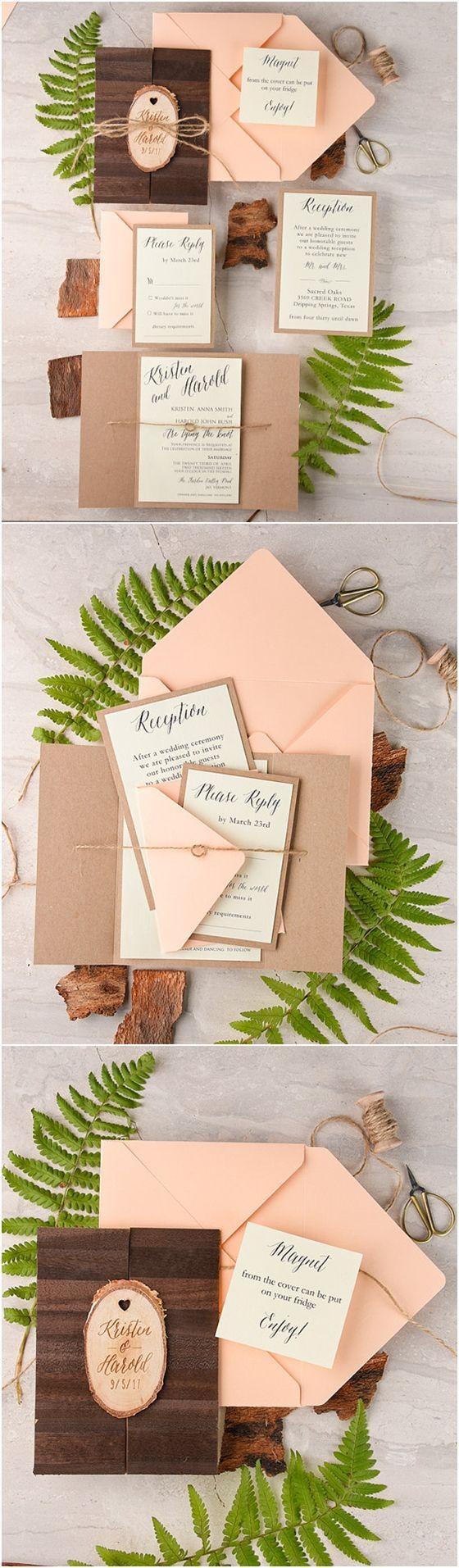 Real Wood Wedding Invitation Suite | Deer Pearl Flowers / http://www.deerpearlflowers.com/rustic-wedding-invitations/rustic-country-peach-and-pink-kraft-paper-wedding-invitations/