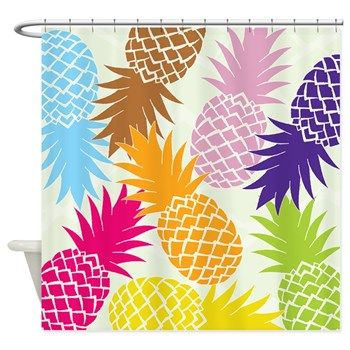 colorful pineapples patterns shower curtain