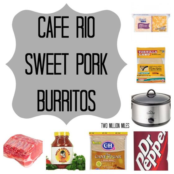 Cafe Rio sweet pork burritos: We love the following recipe better (epicurious), but there is no pic otherwise I'd pin it :) http://www.epicurious.com/recipes/member/views/COSTA-VIDA-SWEET-PORK-50041357