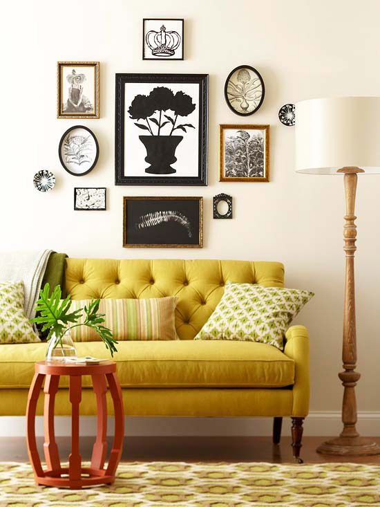 Living Room : Yellow Seating In A Living Room With Round Brown Wood End  Table Also Yellow Moroccan Pattern Rug And Yellow Fabric Sofa Besides Green  Stripes ...
