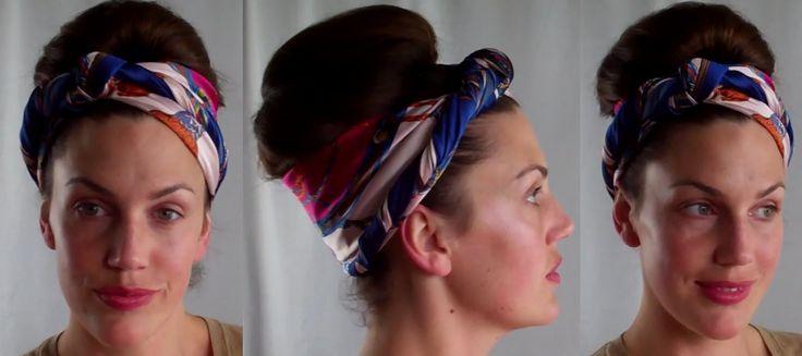 HOTD Dirty hair updo Scarf & retro bouffant bun hairstyle tutorial - Vinatgious