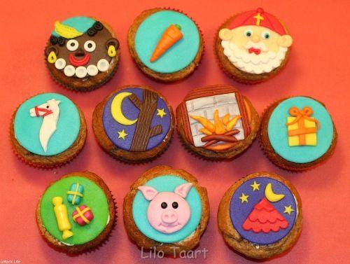 Leuke variatie aan cupcakes voor Sinterklaas, goede inspiratie!