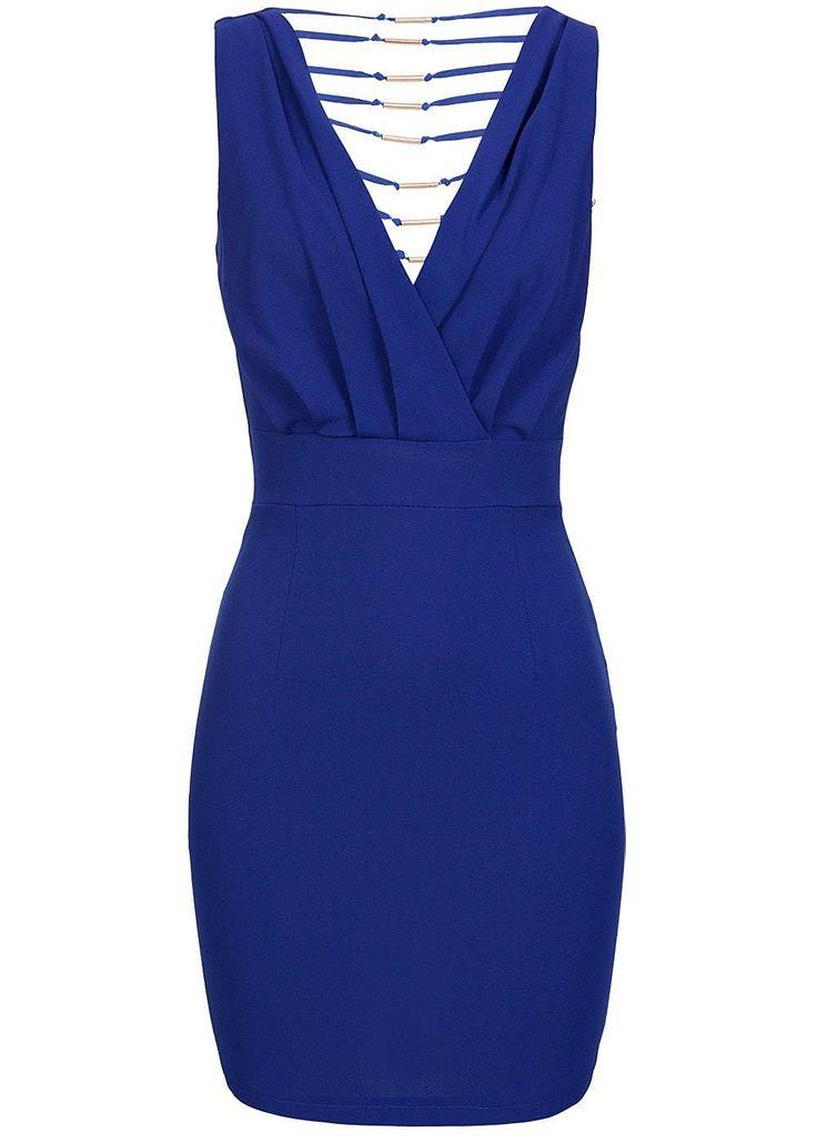 Styleboom Fashion Damen Mini Kleid Zipper seitlich Rücken teils offen royal blau…
