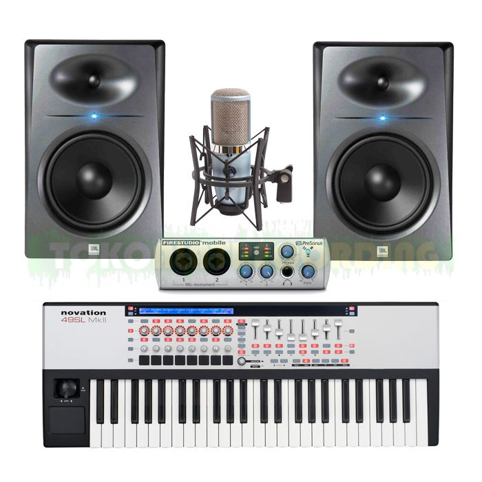 Paket Alat Recording Firewire 8 Channel,solusi hemat untuk aplikasi home recording   Paket terdiri dari :  1 Unit : Soundcard Presonus 8 Channel ( FireWire ) 1 Unit : Keyboard Kontroler Novation 1 Unit : Microphone Recording Kondenser AKG 1 Pair : Studio Monitor JBL Profesional 1 Lot : Kabel & Konektor 1 Lot : Instalasi & Training