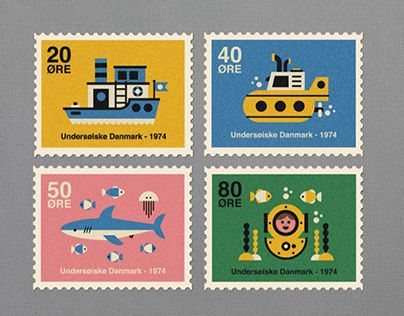 Set of four Danish postage stamps from 1974 showing graphics of 'Underwater Life'
