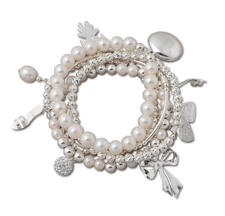 white freshwater pearls with silver multi strand bracelet Vontreskow