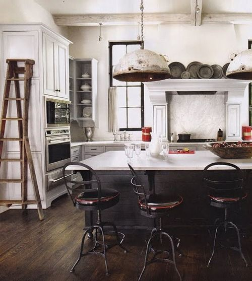 i'd be in there for hours: Ladder, Idea, Kitchens Design, Lights Fixtures, Industrial Kitchens, Kitchens Islands, Industrial Style, Bar Stools, White Kitchens