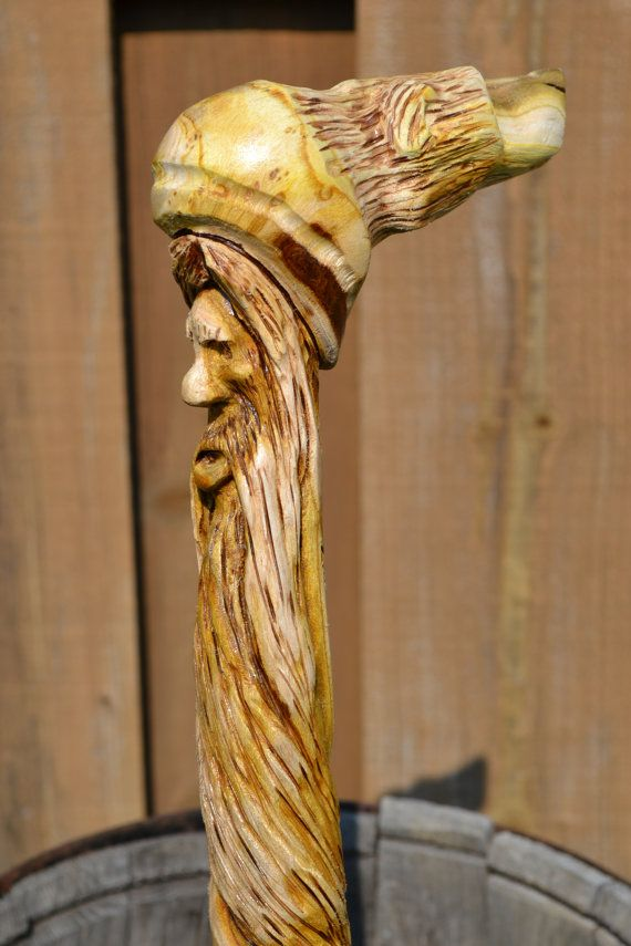 Double Carved Bear And Wood Spirit With Spiral Beard Sumac Root Cane 335 Bears Walking Sticks