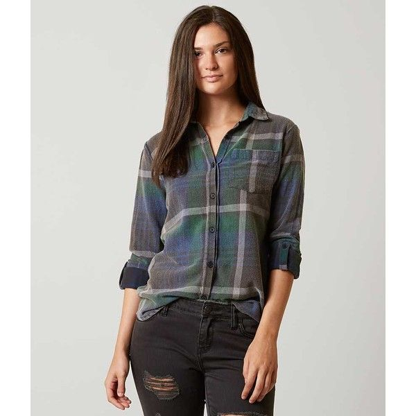 Women's Flannel Shirt in Green/Blue by Daytrip. ($27) ❤ liked on Polyvore featuring tops, green top, green button down shirt, blue top, blue button-down shirts and blue plaid shirts