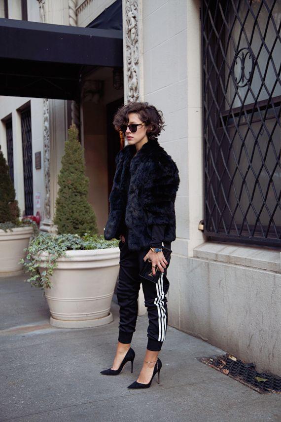 Fur and track pants. Carlas closet.