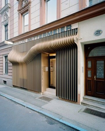 Salon Mittermeier,  Steingasse, Linz, Austria.  Attention grabbing façade of an Austrian hair salon.