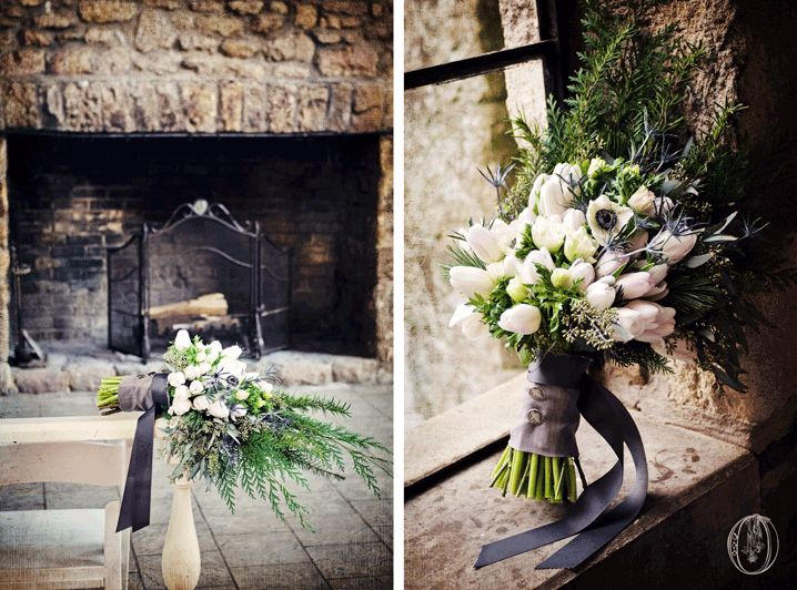 A fireplace and a beautiful bouquet