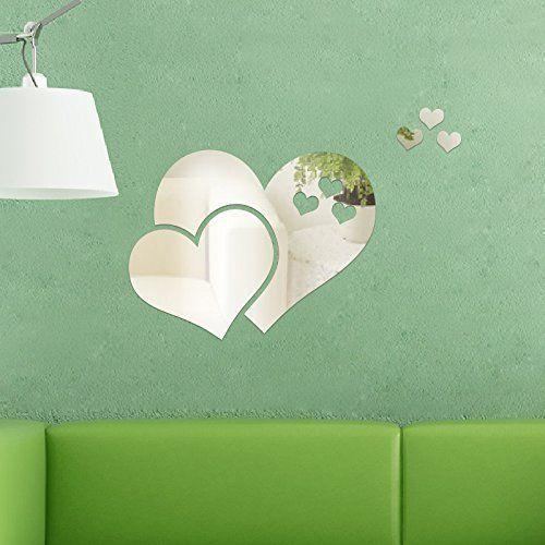 Walplus - Specchi decorativi da parete, a forma di cuori astratti, colore argento