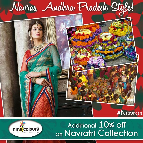 #Navras, Andhra Pradesh Style In Andhra Pradesh, the #Navratri is dedicated to Shakti & celebrated with fervour where women prepare `Batukamma` - a beautiful seasonal flower stack arranged in seven layers. In the evening, women gather & sing traditional folk songs dedicated to the Goddess. #ShopNow #fashion #style #love #beautiful #instagood #instafashion #pretty #girly #outfit #shopping #sarees #suits #lehengas #wedding #indian #traditional #bridal