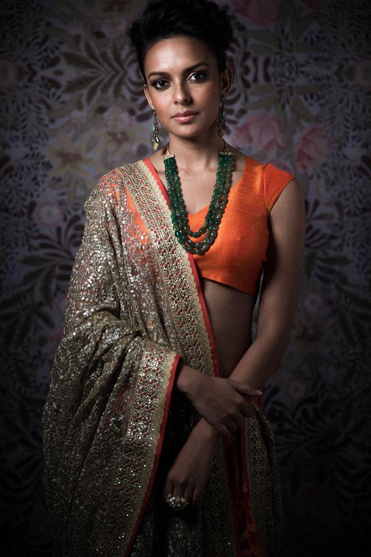 Orange #Blouse With Sparkly Gold #Dupatta & #Lehenga.