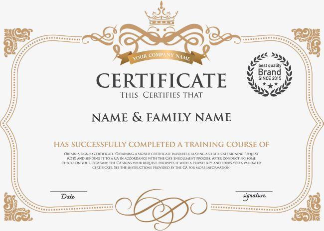 الطراز الأوروبي الأفقي نسخة من الشهادة دبلوم شهادة تدريب قالب الشهادة Png وملف Psd للتحميل مجانا Certificate Of Recognition Template Certificate Templates Certificate Of Achievement Template