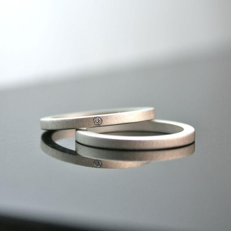 Matte Sterling Silver Diamond Ring Set