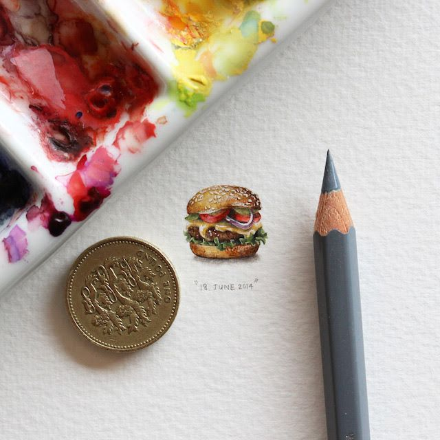 « Postcards for Ants » est un projet d'illustrations miniatures #LorraineLoot Beautiful #Art #Burger