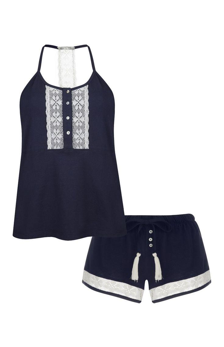 Pijama costas desportivas renda azul-mar