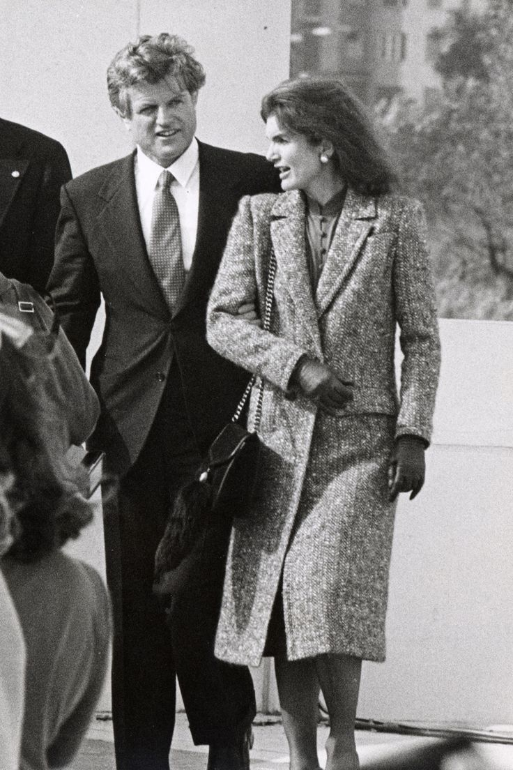 October 20, 1979.  Jackie Kennedy with Ted Kennedy at dedication for the JFK Library