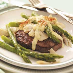 Asparagus Steak Oscar Recipe from Taste of Home -- shared by Cindy Dorsett of Lubbock, Texas