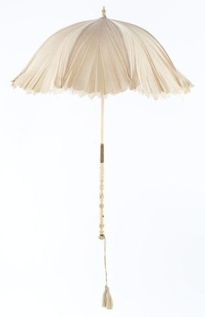 Parasol from Bride's Ensemble: ca. 1872, silk, brass.