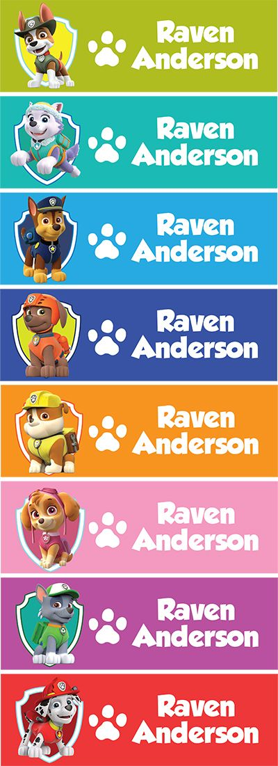 set of 60 personalized name stickers back to school paw patrol pups