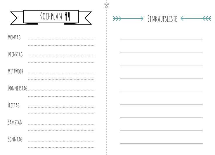 free printable Kochplan & Einkaufsliste in klein (4 Blatt auf DinA4 ...