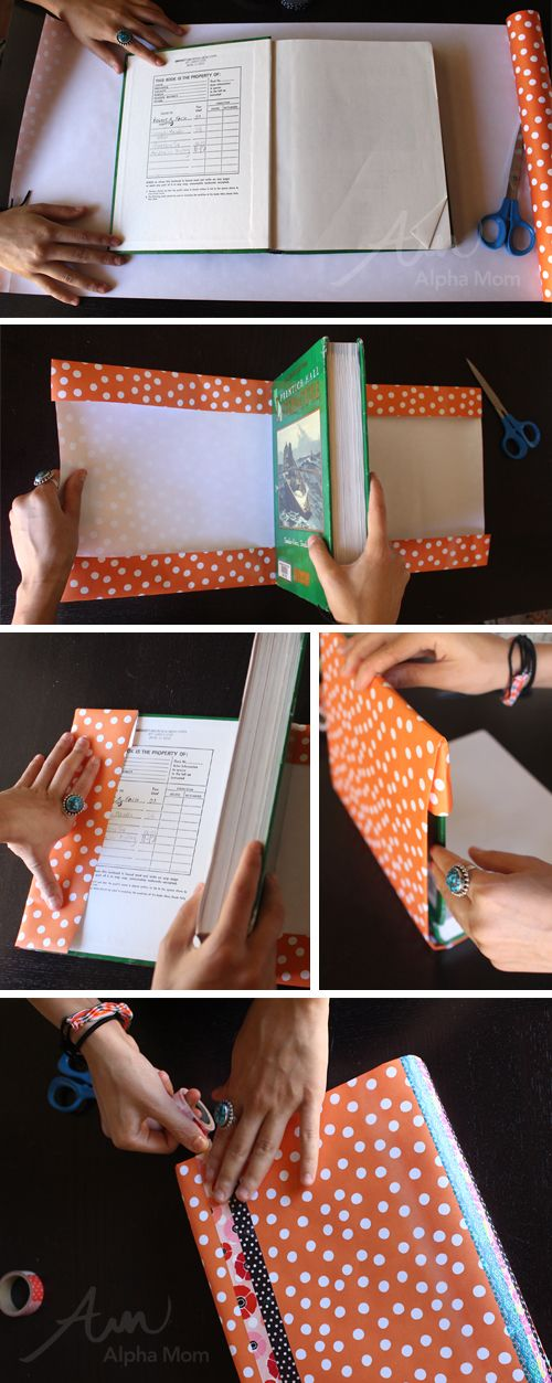 Washi Tape and Wrapping Paper Book Covers DIY (how-to) by Brenda Ponnay for Alphamom.com