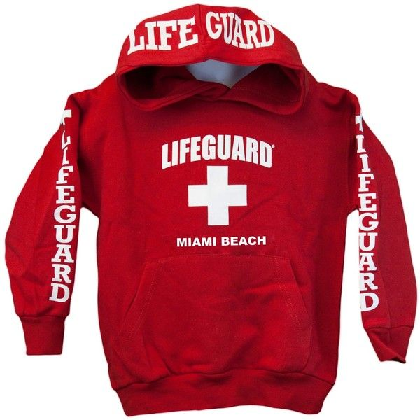 Lifeguard Kids Miami Beach Florida Life Guard Sweatshirt Red Hoodie ($50) ❤ liked on Polyvore featuring tops