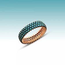 925 серебряные ювелирные изделия ручной работы белый циркон трио линия кольцо вечность